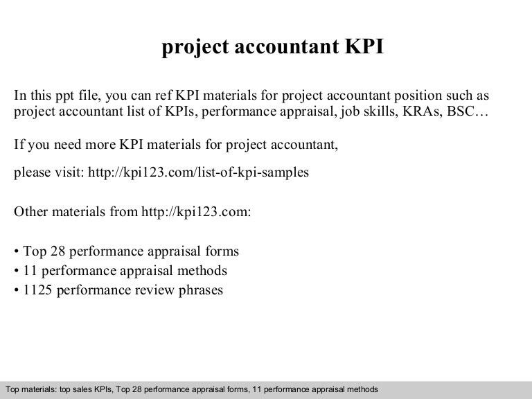 Project accountant kpi