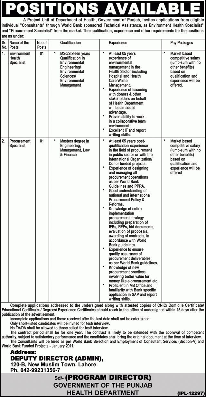 Procurement Specialist Required at Health Department Punjab Lahore