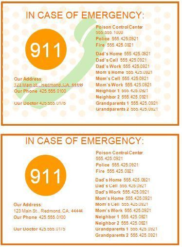 Family Emergency Contact Cards Template | Formal Word Templates