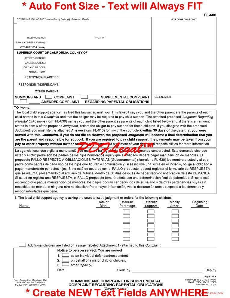 Family Law -Governmental Child Support FL-600-699 - California ...