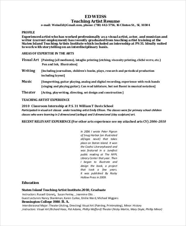 Artist Resume Format Sample Writing Guide