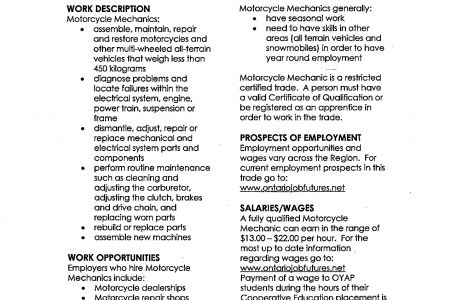 job description of auto mechanic