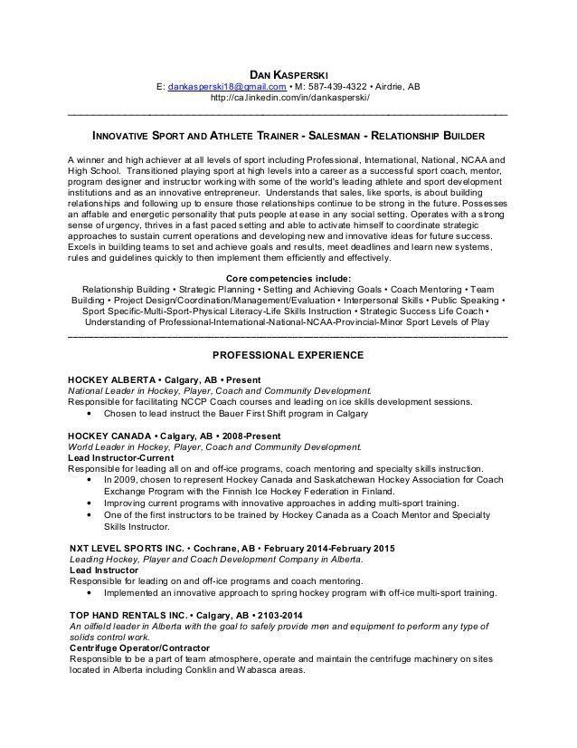 Dan Kasperski Career Resume, 2015