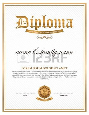 Diploma, Certificate Design Template Royalty Free Cliparts ...