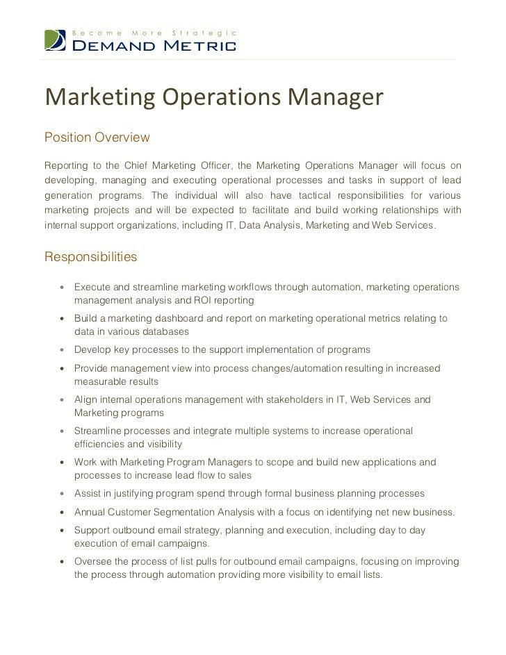 Marketing Operations Manager Job Description