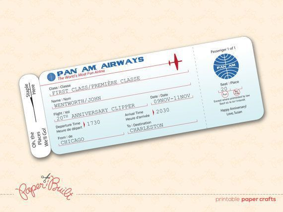 Printable Pan Am Style Airline Ticket/ Boarding by PaperBuiltShop ...