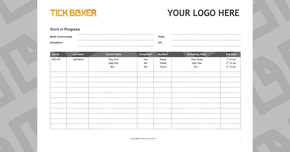 Ad Agency Work In Progress Template - Free download   Tick Boxer
