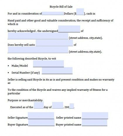 Download Bicycle Bill of Sale Form | PDF | RTF | Word wikiDownload