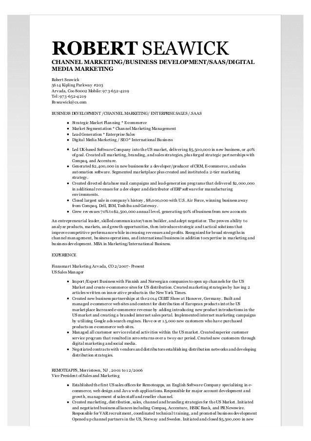 Robert Seawick Resume | Business Development, Channel Marketing, Ente…