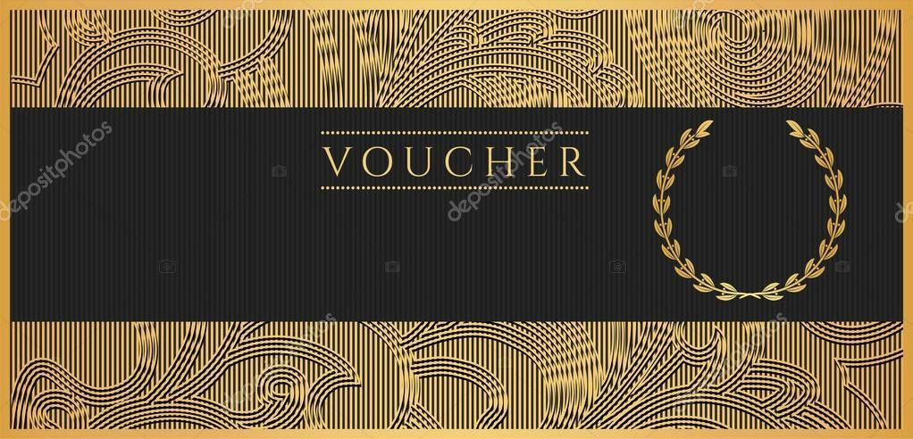 Voucher, Gift certificate, Coupon template. Floral, scroll pattern ...