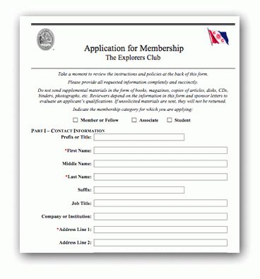 The Explorers Club - About - Application Form