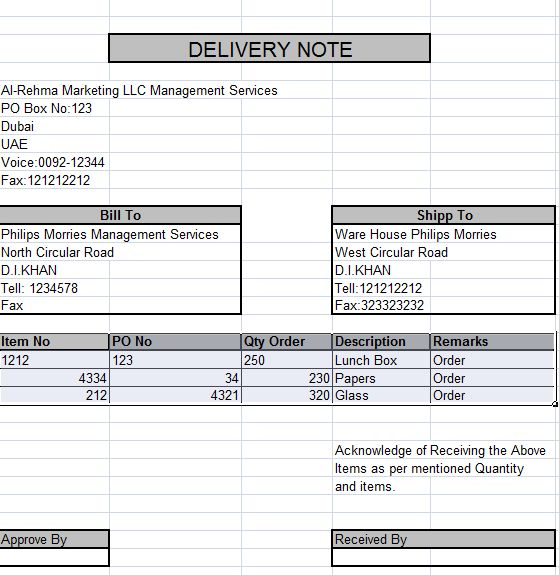 How to Create Delivery Note in Excel - free learning center