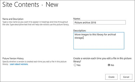 Create a document library in SharePoint - SharePoint