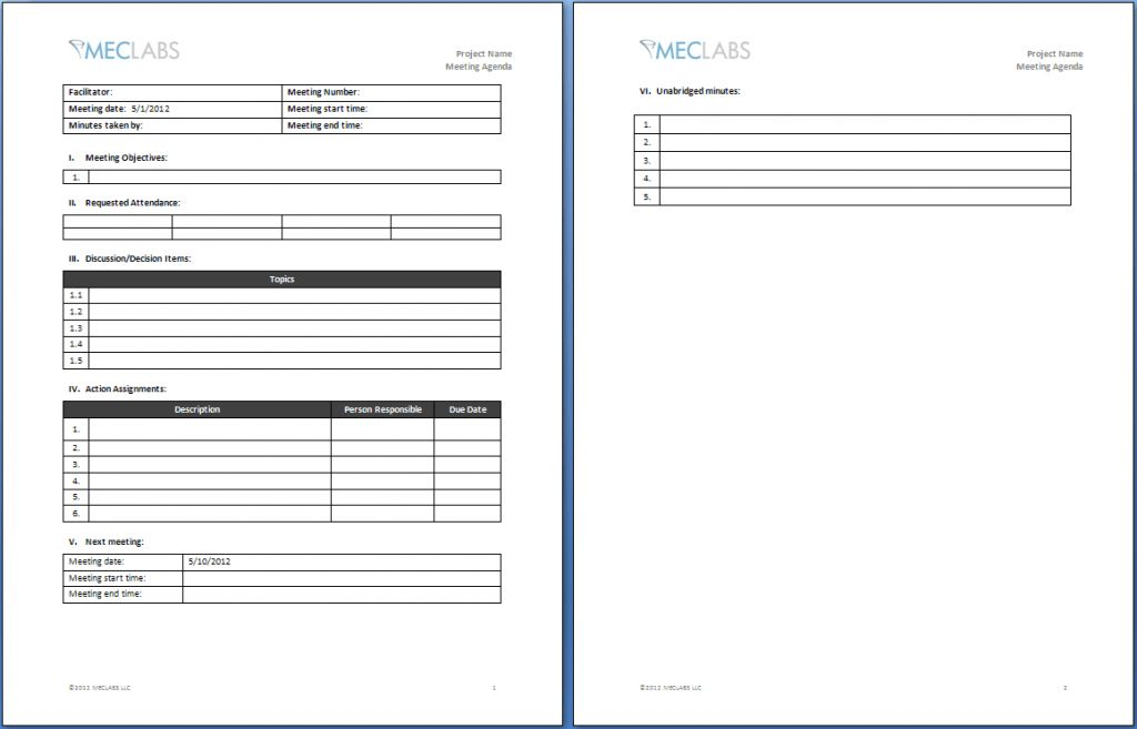 Agenda Meeting Template Fax Cover Letters Blank Sign In Sheet ...