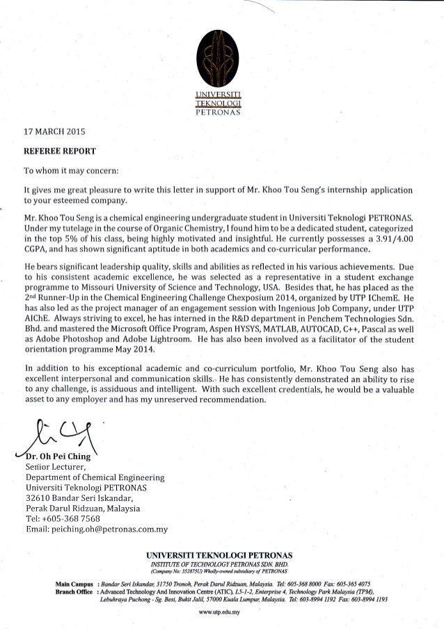 Internship Recommendation Letter