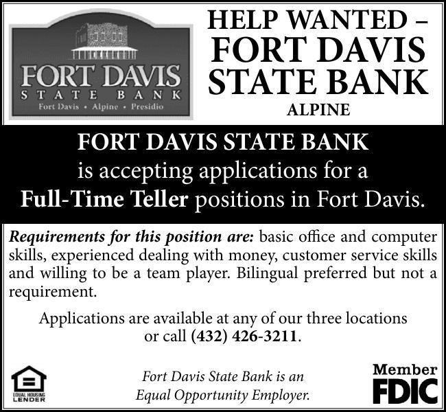 FORT DAVIS ST. BANK - Alpine Avalanche: Job