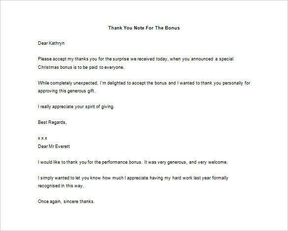 thank you letter for bonus template – Letter Format Writing