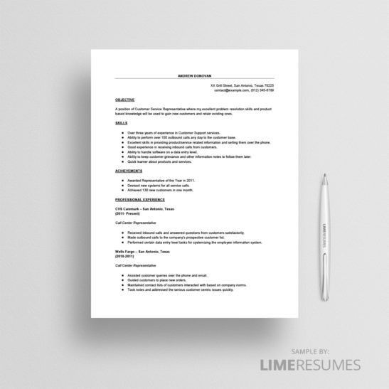 Call Center Resume Sample - LimeResumes