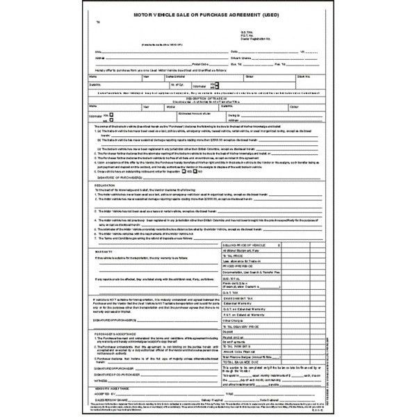 Used Motor Vehicle Sale or Purchase Agreement (Stock) - Michael ...