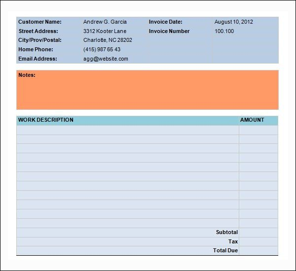 Food Bill Invoice Template - Printable Word, Excel Invoice ...
