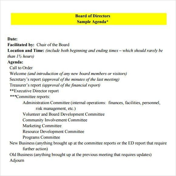 Board Meeting Agenda Template  SaveBtsaCo
