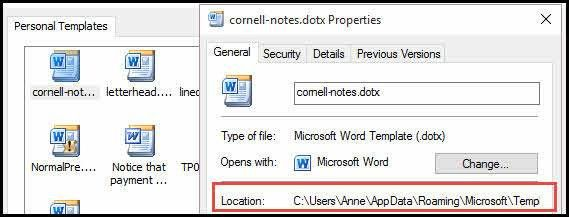 microsoft word notes template