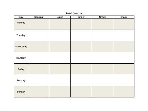 Sample Food Journal Template - 7+ Free Documents in PDF