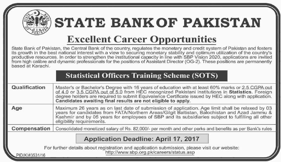 State Bank of Pakistan jobs 2017 Statistical Officers Training ...