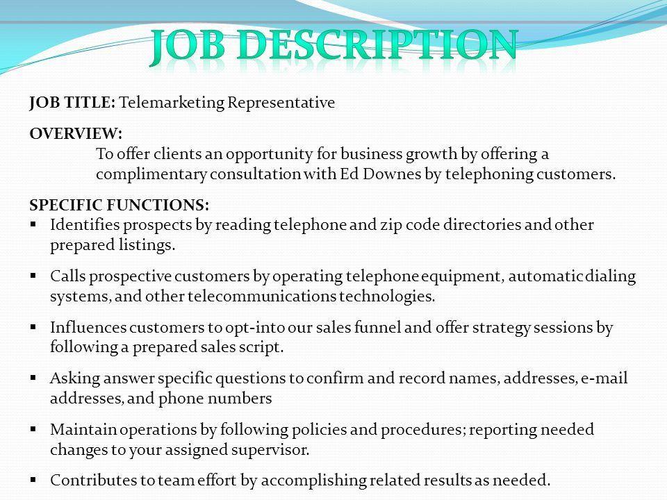 Telemarketing Job Description. Insurance Sales Resume, Example ...