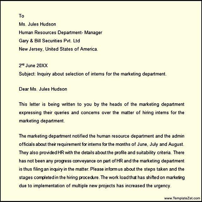 Professional Business Inquiry Letter | TemplateZet