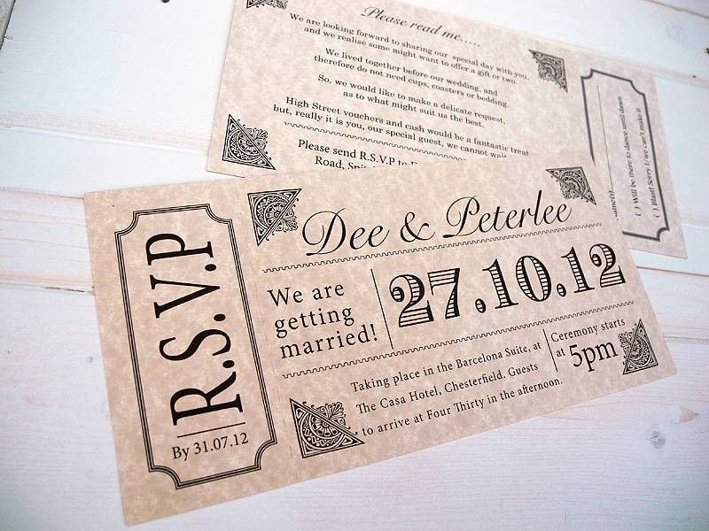 vintage style concert ticket by sweet words stationery ...