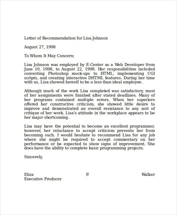 Sample Professional Letter Of Recommendation For Job Letter Of