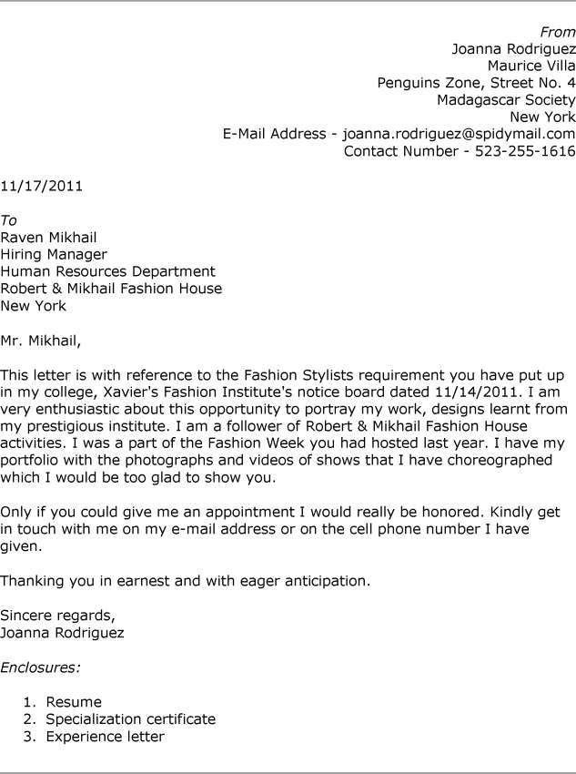 Fashion Cover Letter - My Document Blog