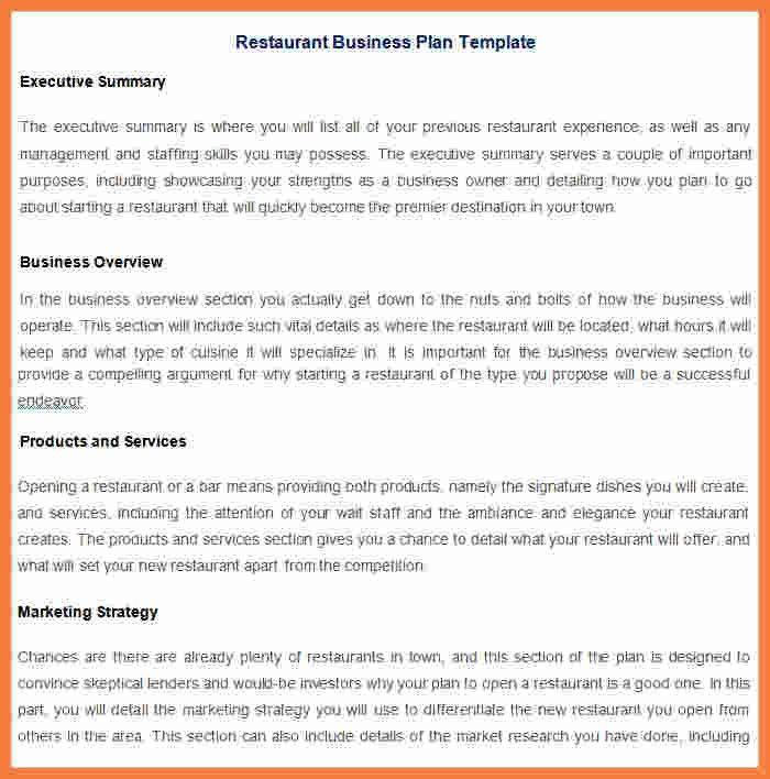 5+ restaurant business plan template | Marital Settlements Information