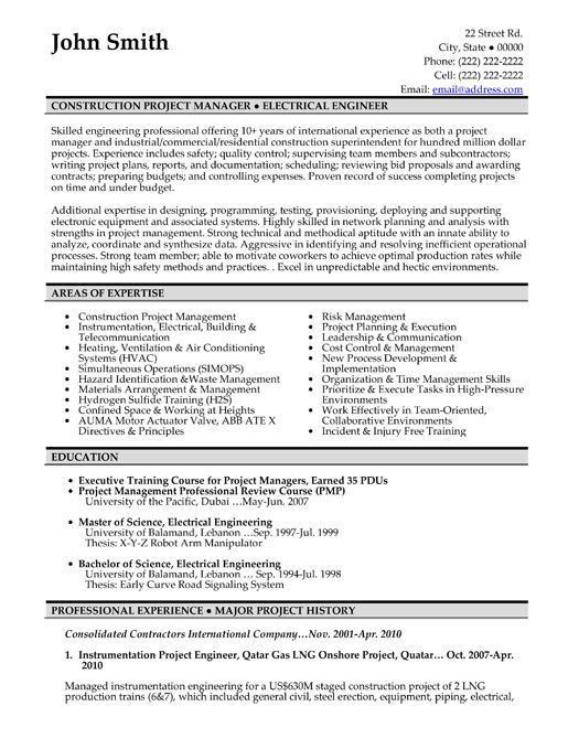 Construction Project Manager Resume Template project manager ...
