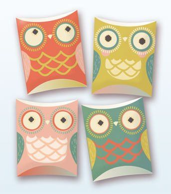 Owl pillow gift boxes PDF template
