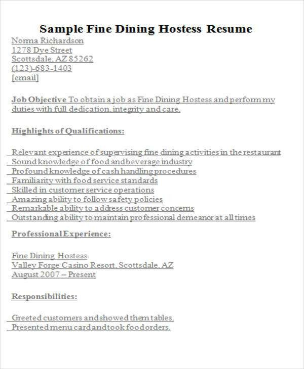 hostess resume sample host resume sample examples for resume