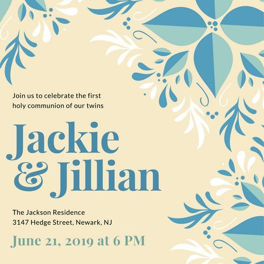 Blue Decorative Twins First Communion Invitation - Templates by Canva