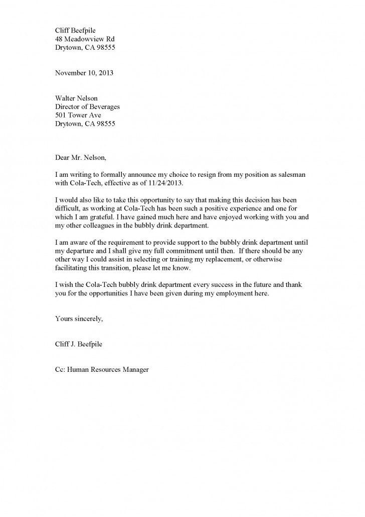 Resignation Letter Format: Leaving Jobs Good How To Write A Proper ...