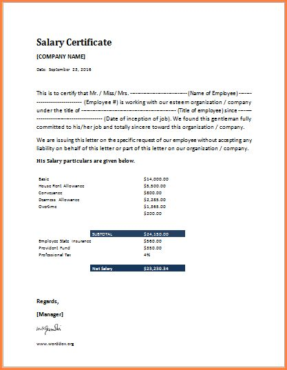 7+ salary certificate word format | Sales Slip Template