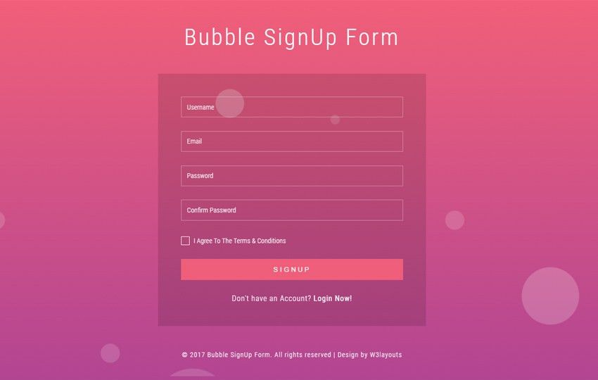 Bubble Signup Form a Flat Responsive Widget Template