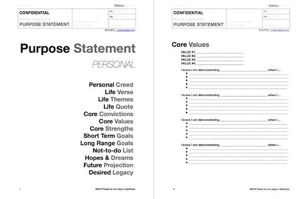 Purpose Statement Template (Editable: Microsoft Word Document ...
