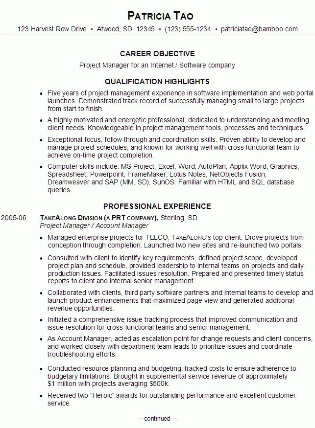 Resume for an IT Project Manager - Susan Ireland Resumes