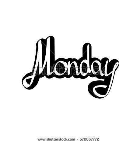 Monday Sticker Calligraphy Lettering Word Design Stock Vector ...