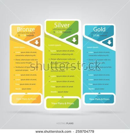 Pricing Tables Vector Mock Template Stock Vector 454702393 ...