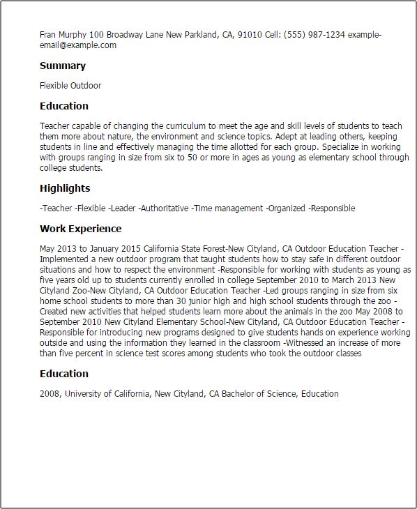Professional Outdoor Education Teacher Templates to Showcase Your ...