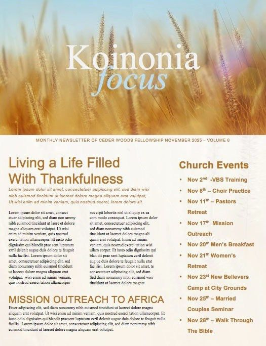 Beautiful edit-ready Church Newsletters and Newsletter Templates.