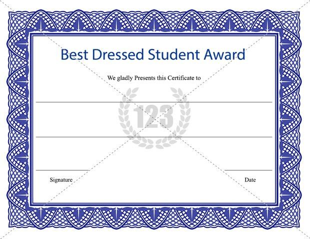 Best Dressed Student Award Certificate Template Download ...