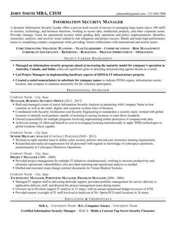 Security Manager Resume