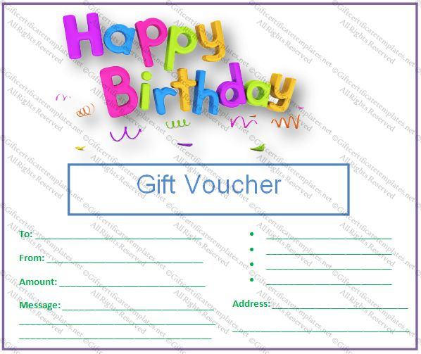 Birthday Gift Certificate Templates - Gift Certificates